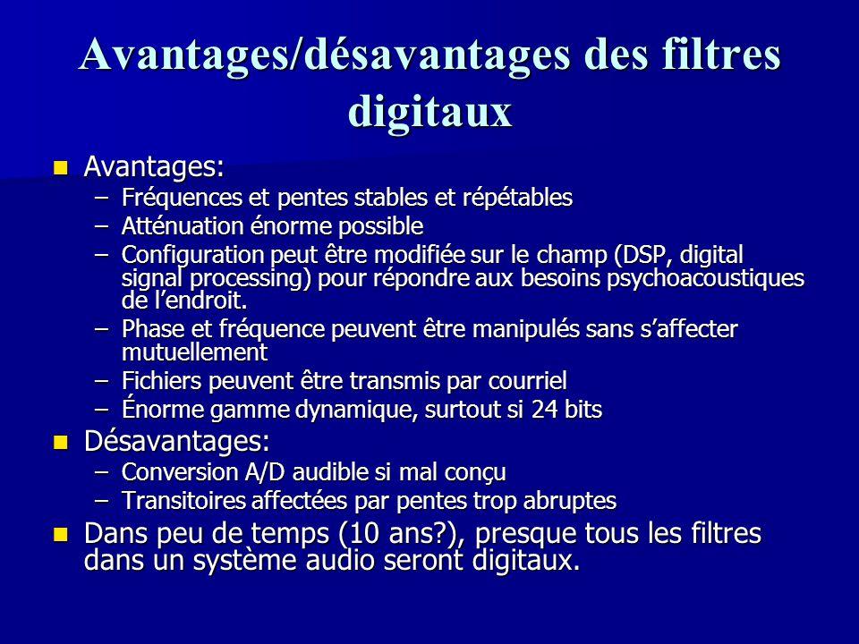Avantages/désavantages des filtres digitaux Avantages: Avantages: –Fréquences et pentes stables et répétables –Atténuation énorme possible –Configurat