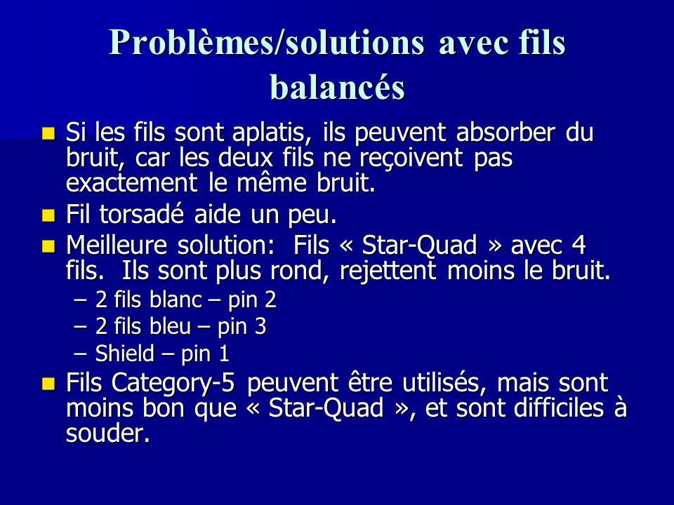 Problèmes/solutions avec fils balancés Si les fils sont aplatis, ils peuvent absorber du bruit, car les deux fils ne reçoivent pas exactement le même