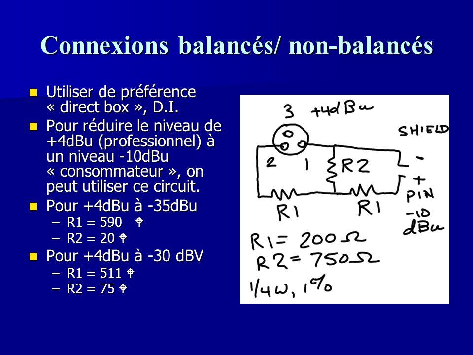 Connexions balancés/ non-balancés Utiliser de préférence « direct box », D.I. Utiliser de préférence « direct box », D.I. Pour réduire le niveau de +4