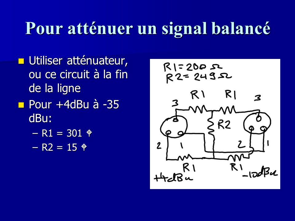 Pour atténuer un signal balancé Utiliser atténuateur, ou ce circuit à la fin de la ligne Utiliser atténuateur, ou ce circuit à la fin de la ligne Pour