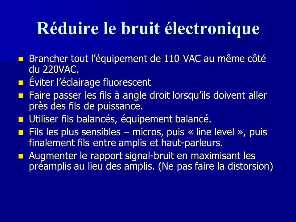 Réduire le bruit électronique Brancher tout l'équipement de 110 VAC au même côté du 220VAC. Brancher tout l'équipement de 110 VAC au même côté du 220V