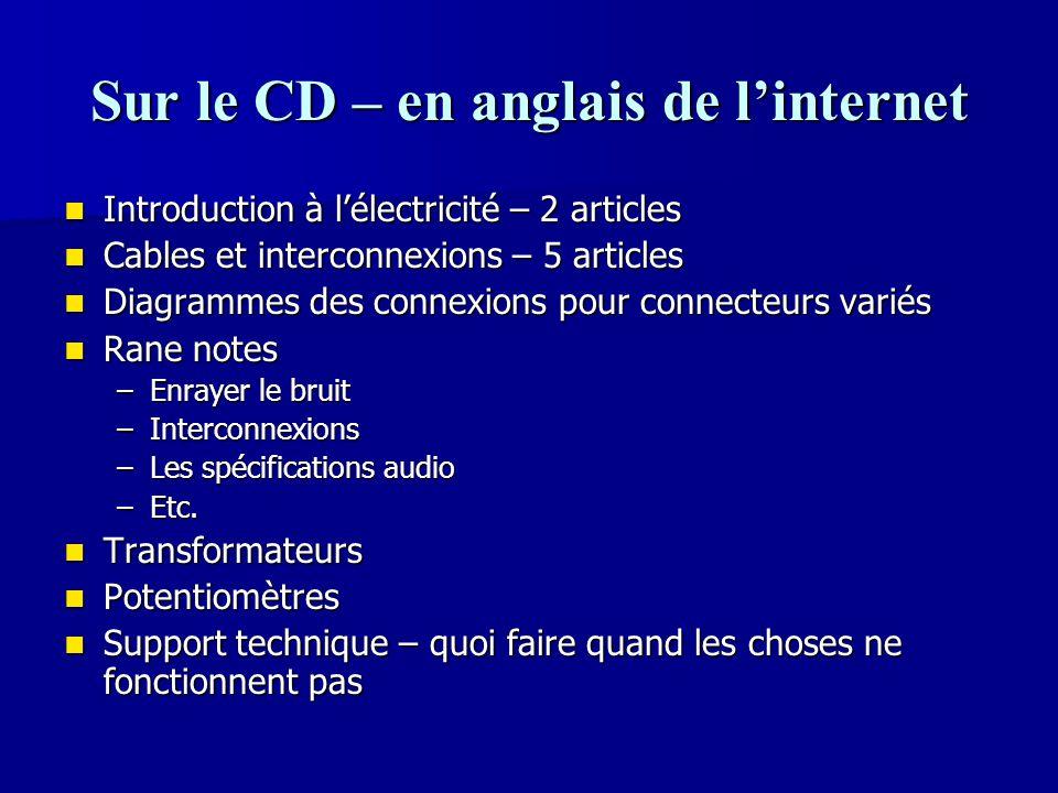 Sur le CD – en anglais de l'internet Introduction à l'électricité – 2 articles Introduction à l'électricité – 2 articles Cables et interconnexions – 5
