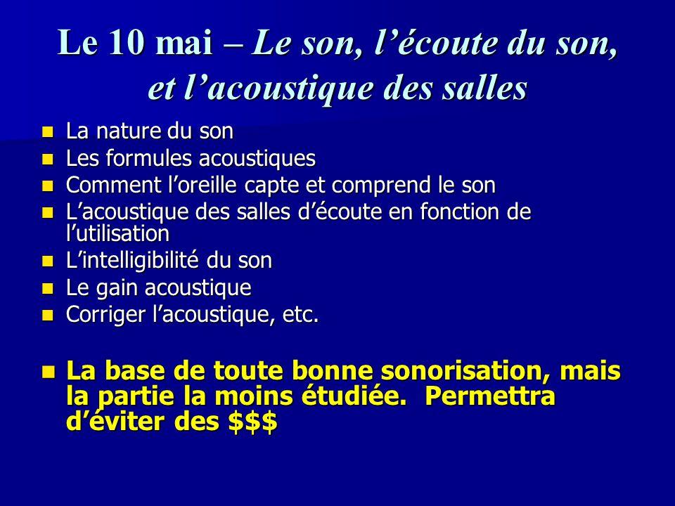 Le 10 mai – Le son, l'écoute du son, et l'acoustique des salles La nature du son La nature du son Les formules acoustiques Les formules acoustiques Co