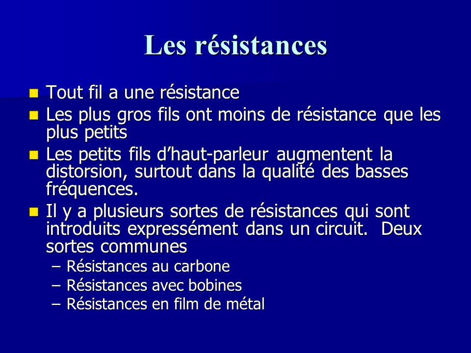 Les résistances Tout fil a une résistance Tout fil a une résistance Les plus gros fils ont moins de résistance que les plus petits Les plus gros fils