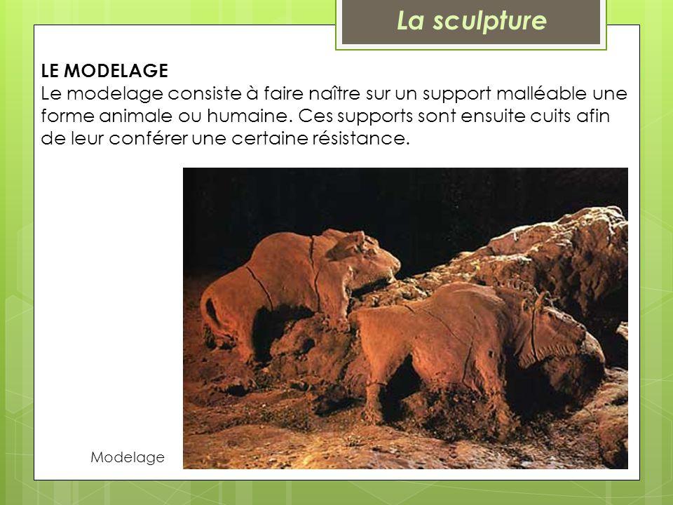LE MODELAGE Le modelage consiste à faire naître sur un support malléable une forme animale ou humaine. Ces supports sont ensuite cuits afin de leur co