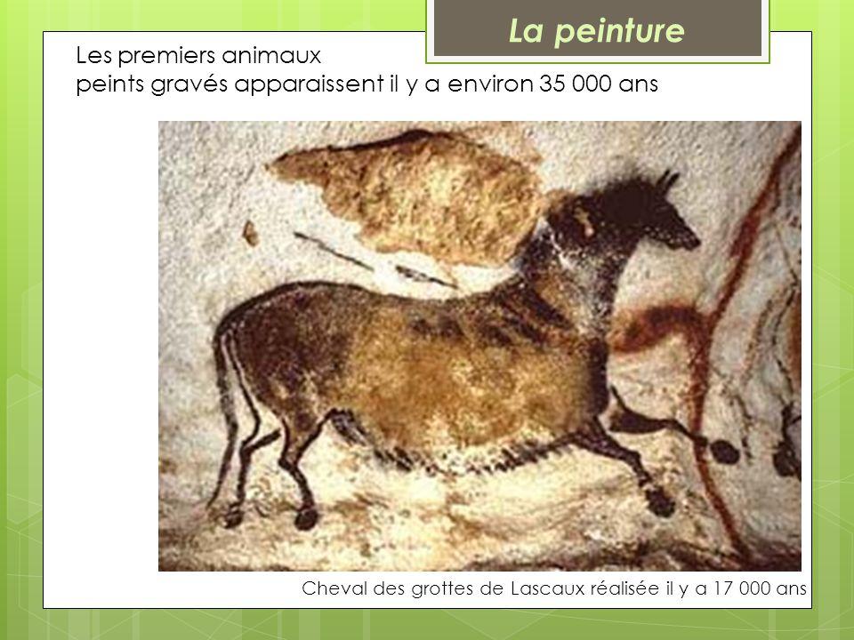 Les premiers animaux peints gravés apparaissent il y a environ 35 000 ans Cheval des grottes de Lascaux réalisée il y a 17 000 ans La peinture
