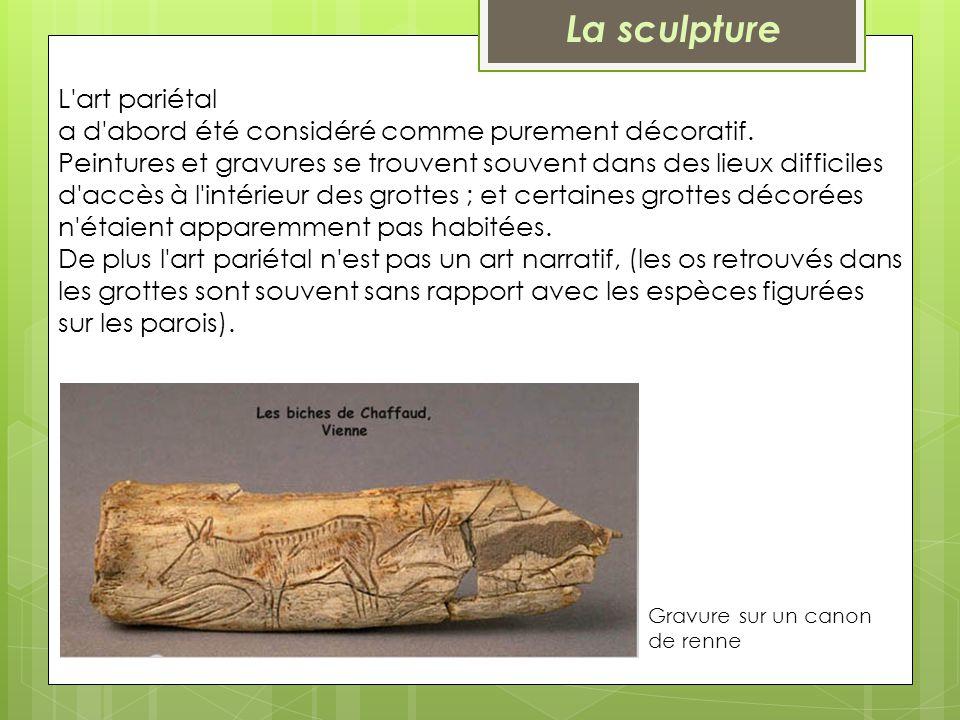 L'art pariétal a d'abord été considéré comme purement décoratif. Peintures et gravures se trouvent souvent dans des lieux difficiles d'accès à l'intér
