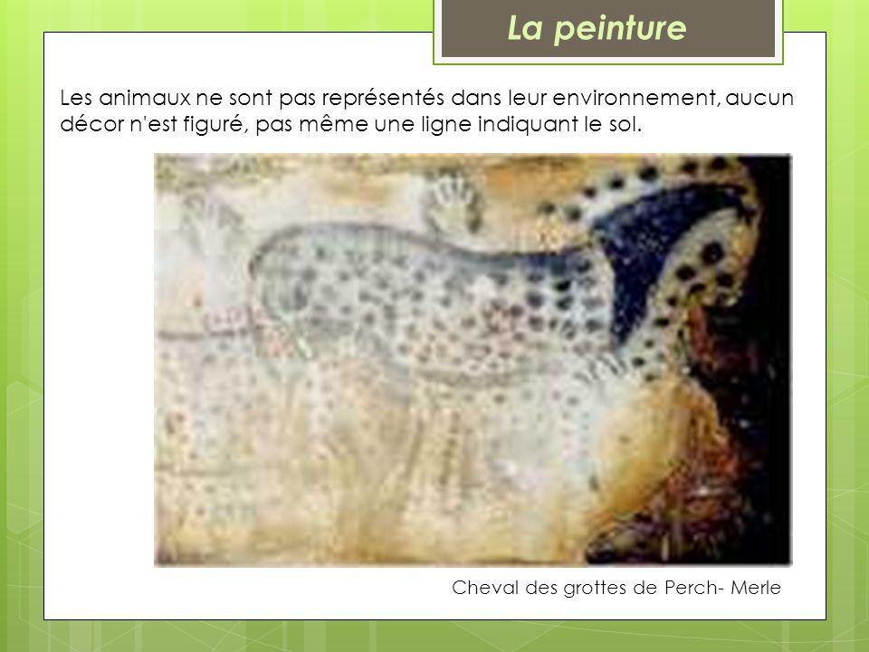 Cheval des grottes de Perch- Merle Les animaux ne sont pas représentés dans leur environnement, aucun décor n'est figuré, pas même une ligne indiquant