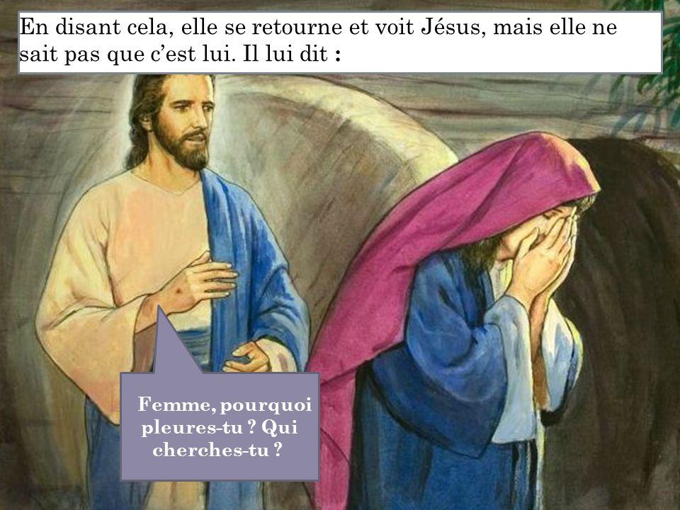 En disant cela, elle se retourne et voit Jésus, mais elle ne sait pas que c'est lui. Il lui dit : Femme, pourquoi pleures-tu ? Qui cherches-tu ?