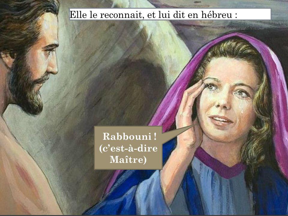 Rabbouni ! (c'est-à-dire Maître) Elle le reconnait, et lui dit en hébreu :