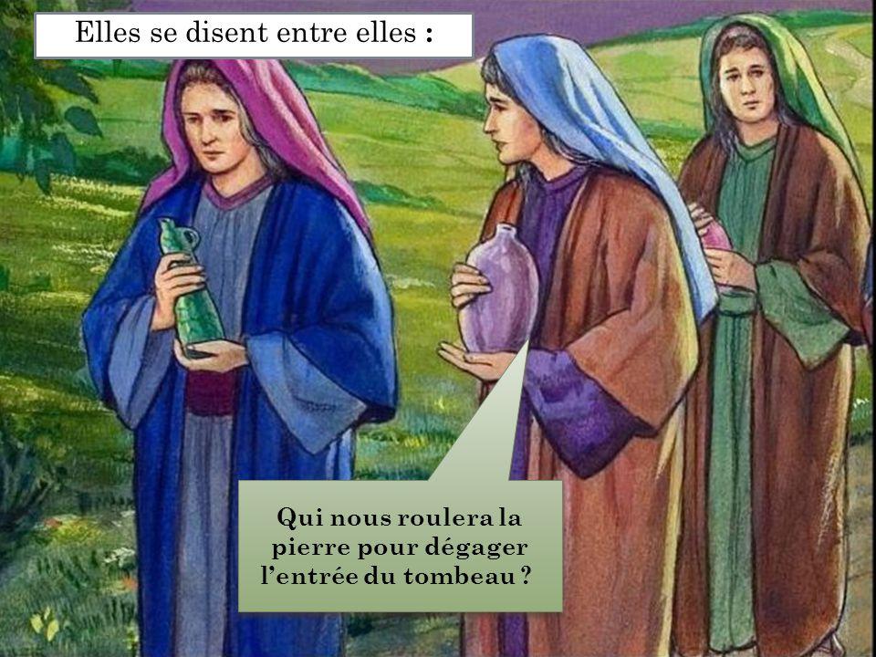 Elles se disent entre elles : Qui nous roulera la pierre pour dégager l'entrée du tombeau ?
