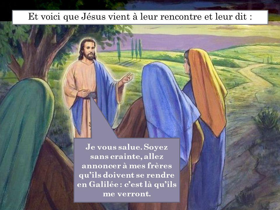Et voici que Jésus vient à leur rencontre et leur dit : Je vous salue. Soyez sans crainte, allez annoncer à mes frères qu'ils doivent se rendre en Gal