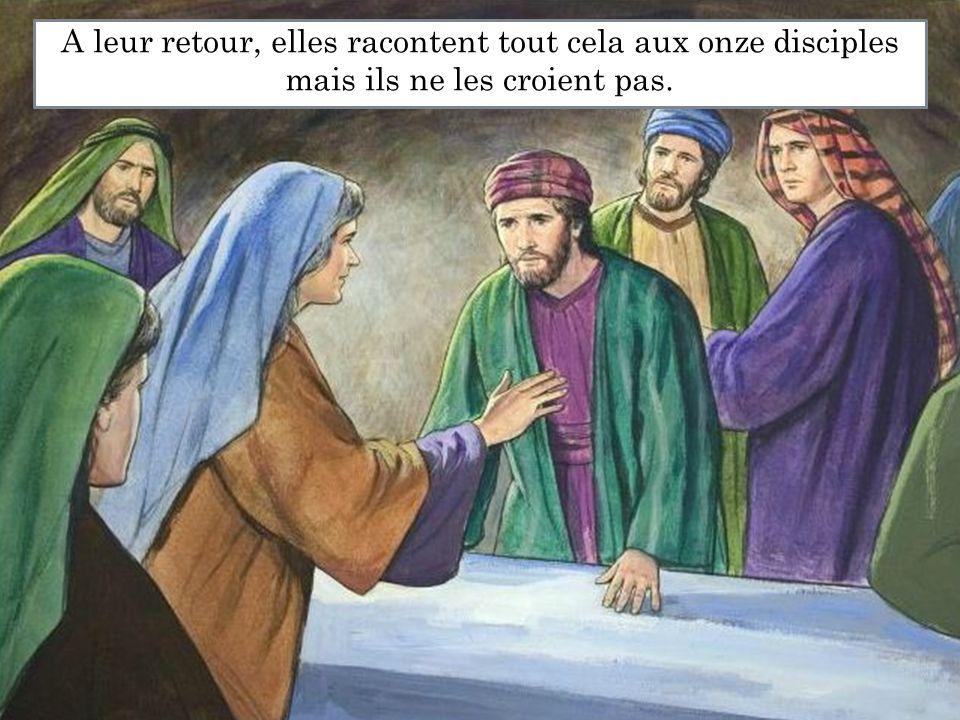 A leur retour, elles racontent tout cela aux onze disciples mais ils ne les croient pas.
