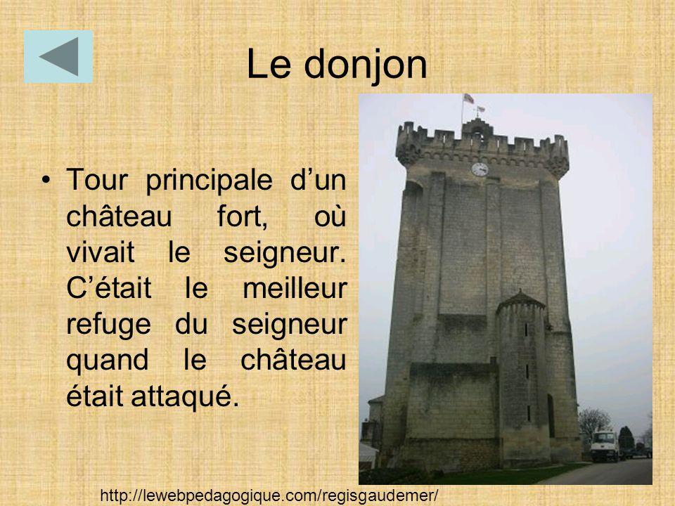 Le donjon Tour principale d'un château fort, où vivait le seigneur. C'était le meilleur refuge du seigneur quand le château était attaqué. http://lewe