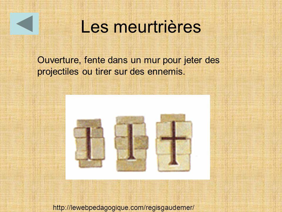 Ouverture, fente dans un mur pour jeter des projectiles ou tirer sur des ennemis. Les meurtrières http://lewebpedagogique.com/regisgaudemer/