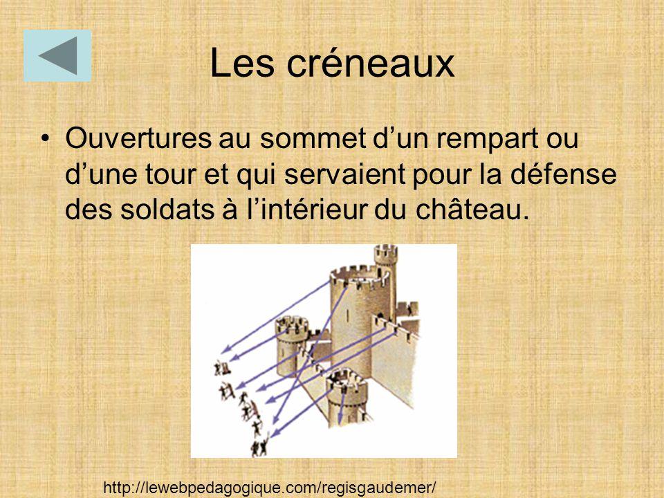 Les créneaux Ouvertures au sommet d'un rempart ou d'une tour et qui servaient pour la défense des soldats à l'intérieur du château. http://lewebpedago