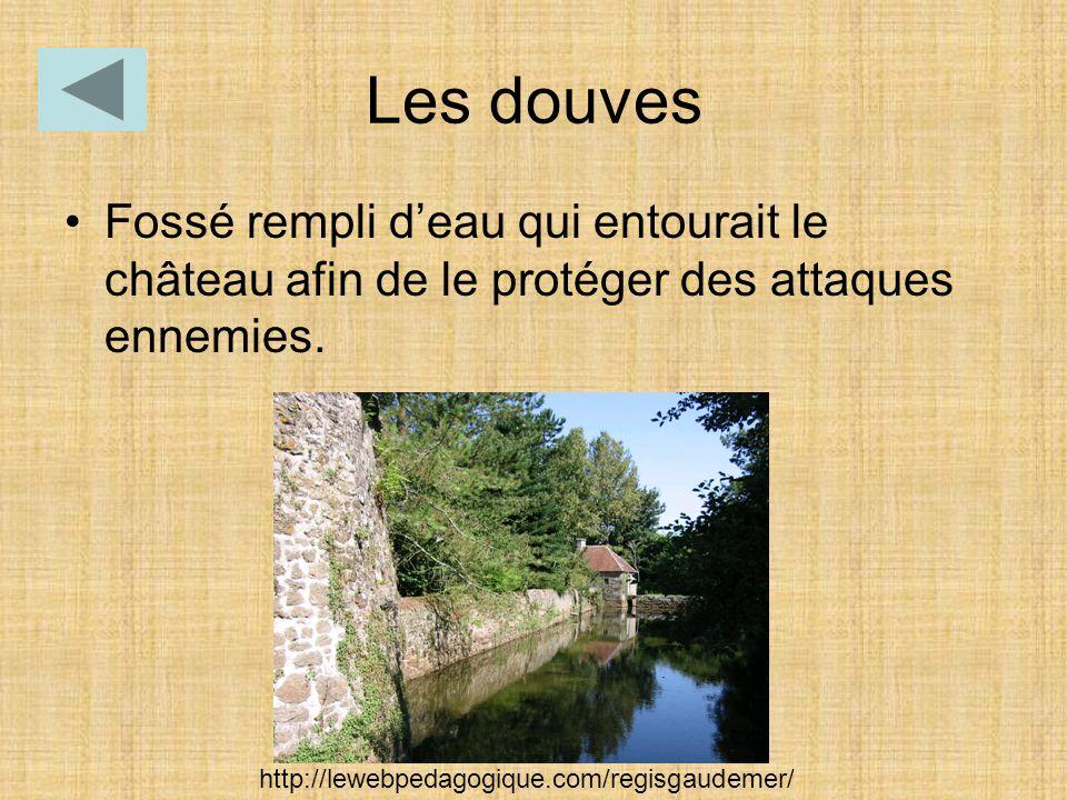Les douves Fossé rempli d'eau qui entourait le château afin de le protéger des attaques ennemies. http://lewebpedagogique.com/regisgaudemer/