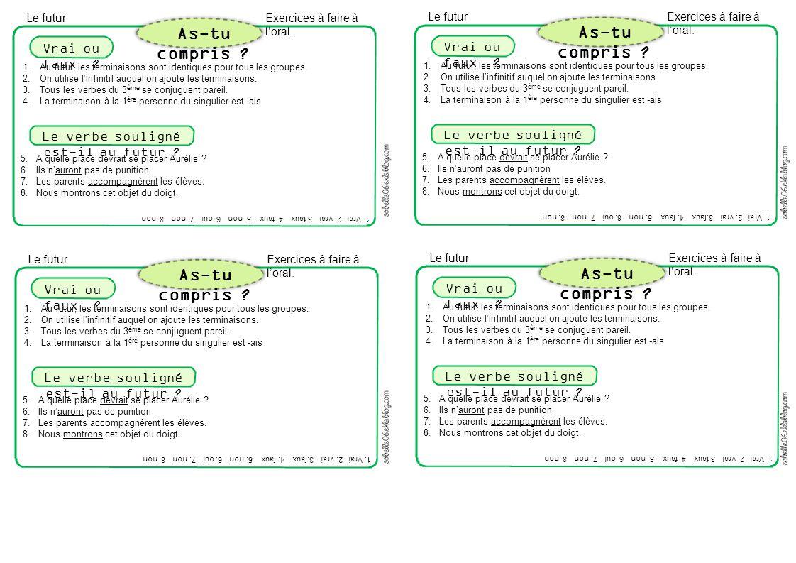 Exercices à faire à l'oral. 1.Au futur, les terminaisons sont identiques pour tous les groupes. 2.On utilise l'infinitif auquel on ajoute les terminai
