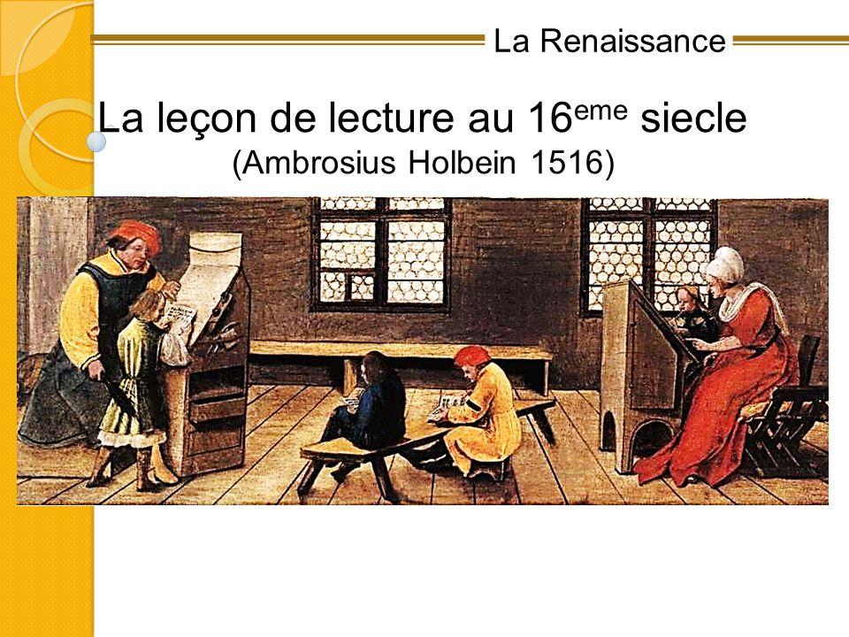 La Renaissance La leçon de lecture au 16 eme siecle (Ambrosius Holbein 1516)