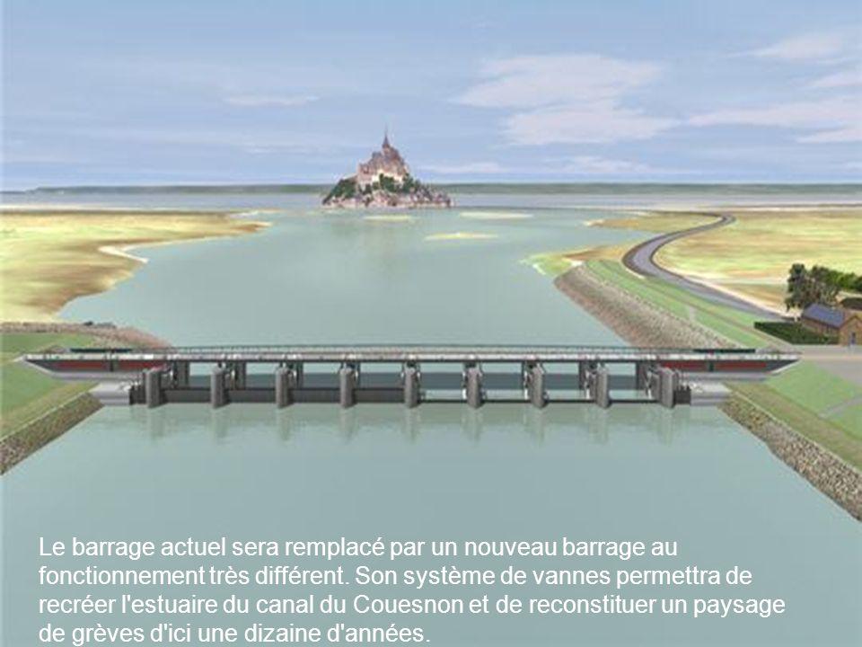 La fermeture et l ouverture progressive des vannes lors des marées montantes et descendantes auront un effet de chasse d eau et nettoieront peu à peu les alentours du Mont des sédiments accumulés