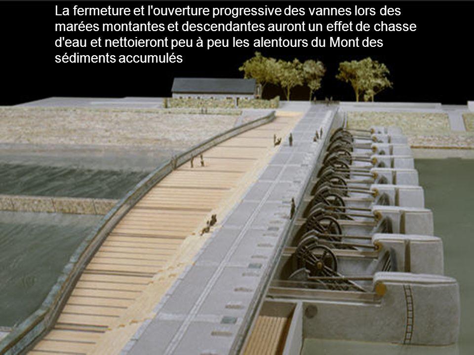 La fermeture et l'ouverture progressive des vannes lors des marées montantes et descendantes auront un effet de chasse d'eau et nettoieront peu à peu
