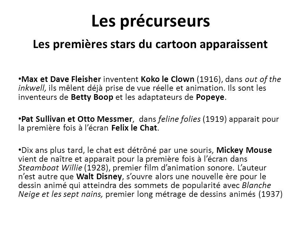 Les précurseurs Les premières stars du cartoon apparaissent Max et Dave Fleisher inventent Koko le Clown (1916), dans out of the inkwell, ils mêlent déjà prise de vue réelle et animation.