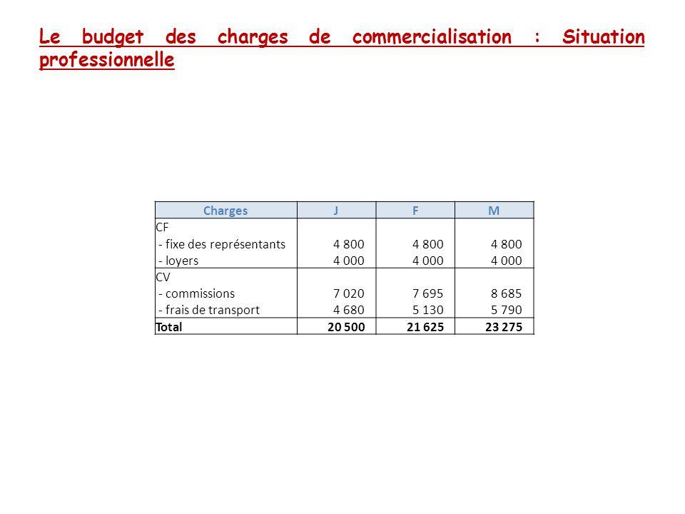 Le budget des charges de commercialisation : Situation professionnelle ChargesJFM CF - fixe des représentants 4 800 - loyers 4 000 CV - commissions 7