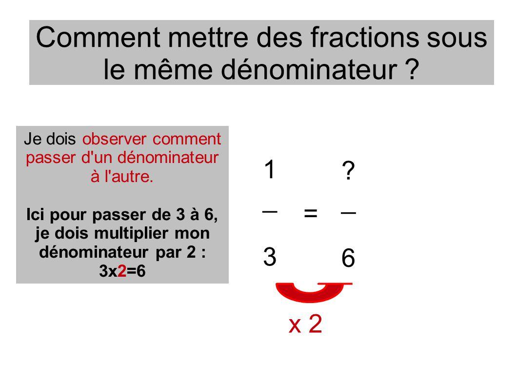 Comment mettre des fractions sous le même dénominateur ? ? _ 6 1 _ 3 = Je dois observer comment passer d'un dénominateur à l'autre. Ici pour passer de