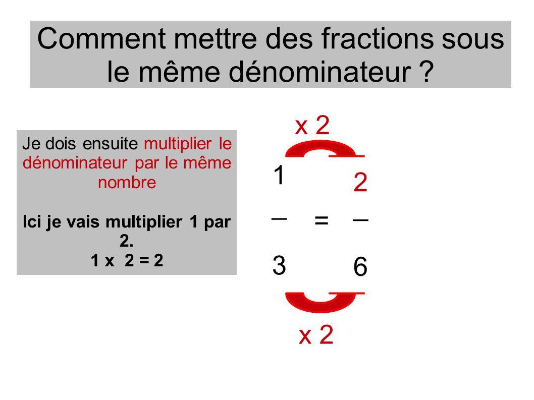 Comment mettre des fractions sous le même dénominateur ? _ 6 1 _ 3 = Je dois ensuite multiplier le dénominateur par le même nombre Ici je vais multipl