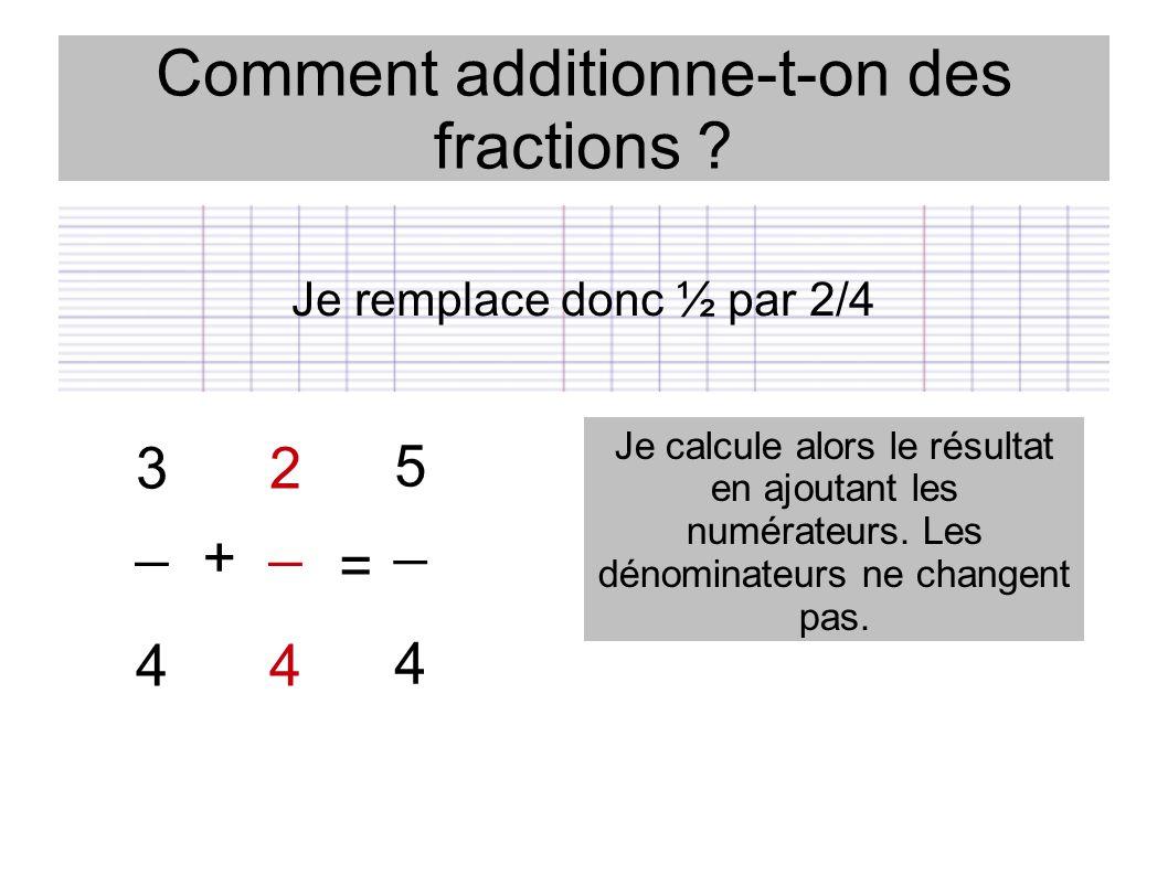 Comment additionne-t-on des fractions ? Je remplace donc ½ par 2/4 3 _ 4 2 _ 4 + = Je calcule alors le résultat en ajoutant les numérateurs. Les dénom