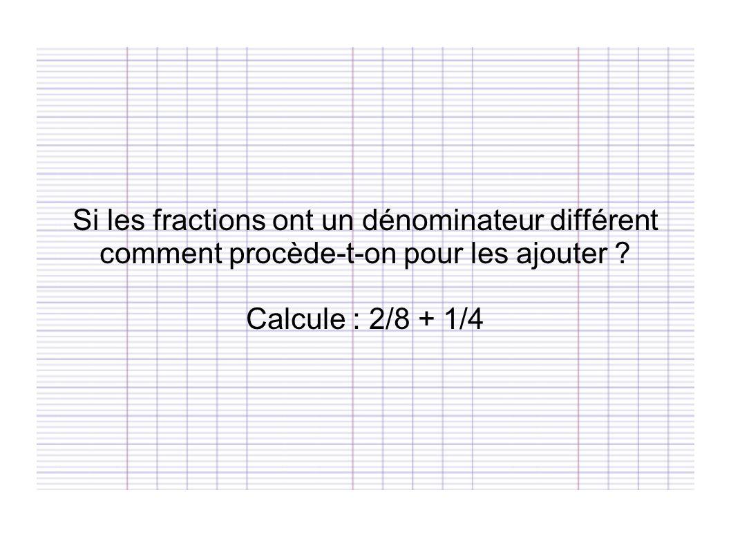 Si les fractions ont un dénominateur différent comment procède-t-on pour les ajouter ? Calcule : 2/8 + 1/4