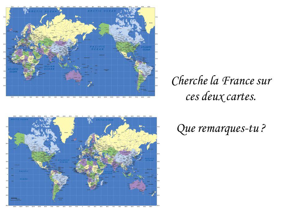 Cherche la France sur ces deux cartes. Que remarques-tu ?