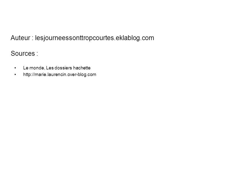 Auteur : lesjourneessonttropcourtes.eklablog.com Sources : Le monde, Les dossiers hachette http://marie.laurencin.over-blog.com