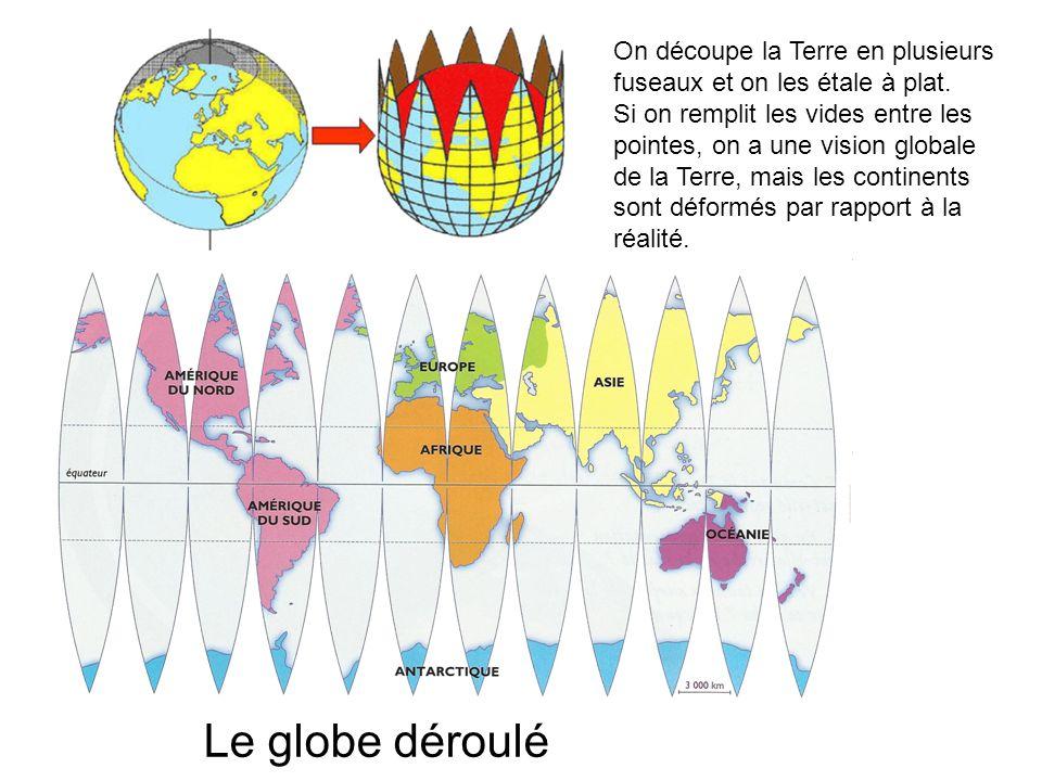 On découpe la Terre en plusieurs fuseaux et on les étale à plat. Si on remplit les vides entre les pointes, on a une vision globale de la Terre, mais