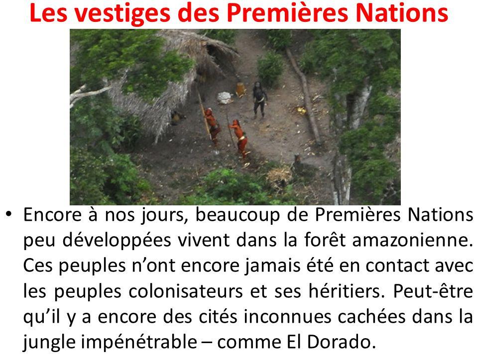 Les vestiges des Premières Nations Encore à nos jours, beaucoup de Premières Nations peu développées vivent dans la forêt amazonienne. Ces peuples n'o