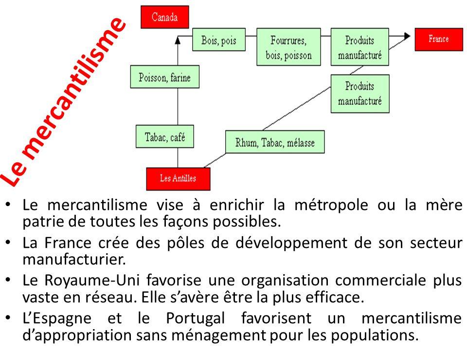 Le mercantilisme Le mercantilisme vise à enrichir la métropole ou la mère patrie de toutes les façons possibles. La France crée des pôles de développe