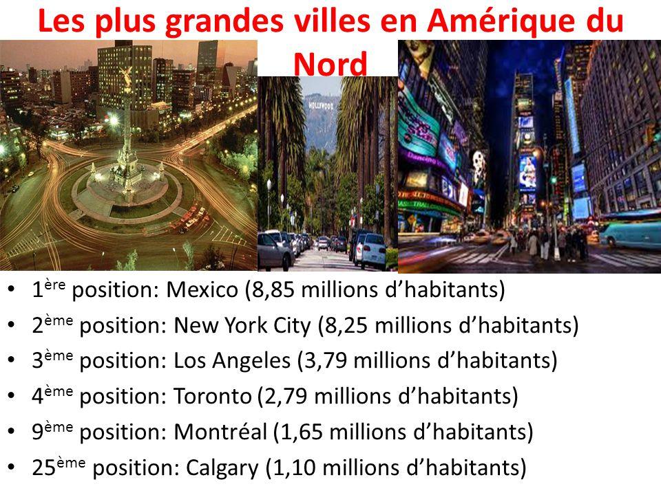 Les plus grandes villes en Amérique du Nord 1 ère position: Mexico (8,85 millions d'habitants) 2 ème position: New York City (8,25 millions d'habitant