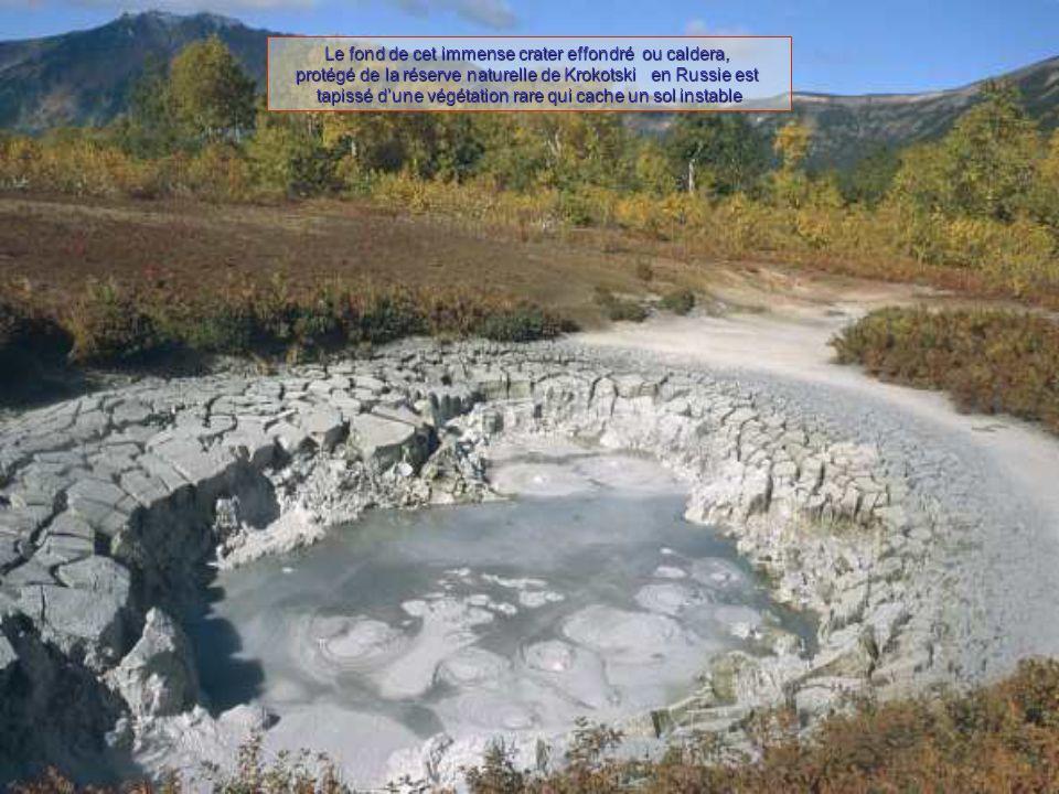 Le fond de cet immense crater effondré ou caldera, protégé de la réserve naturelle de Krokotski en Russie est tapissé d'une végétation rare qui cache un sol instable