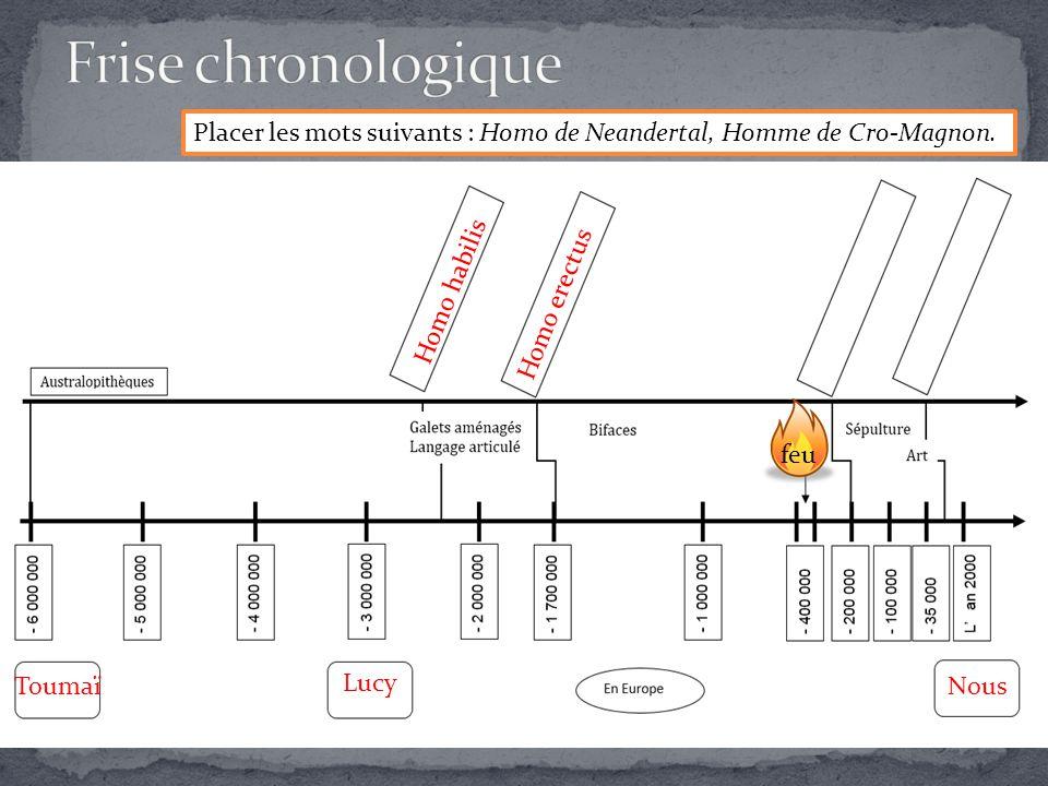 Placer les mots suivants : Homo de Neandertal, Homme de Cro-Magnon.