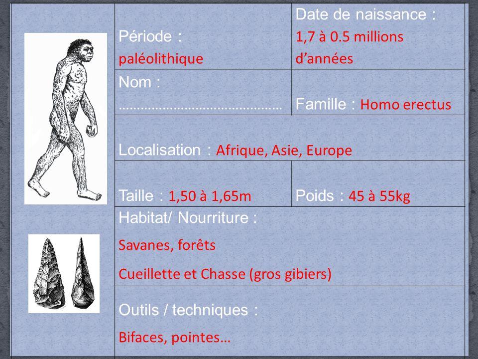 Période : paléolithique Date de naissance : 1,7 à 0.5 millions d'années Nom : ……………………………………… Famille : Homo erectus Localisation : Afrique, Asie, Europe Taille : 1,50 à 1,65m Poids : 45 à 55kg Habitat/ Nourriture : Savanes, forêts Cueillette et Chasse (gros gibiers) Outils / techniques : Bifaces, pointes…