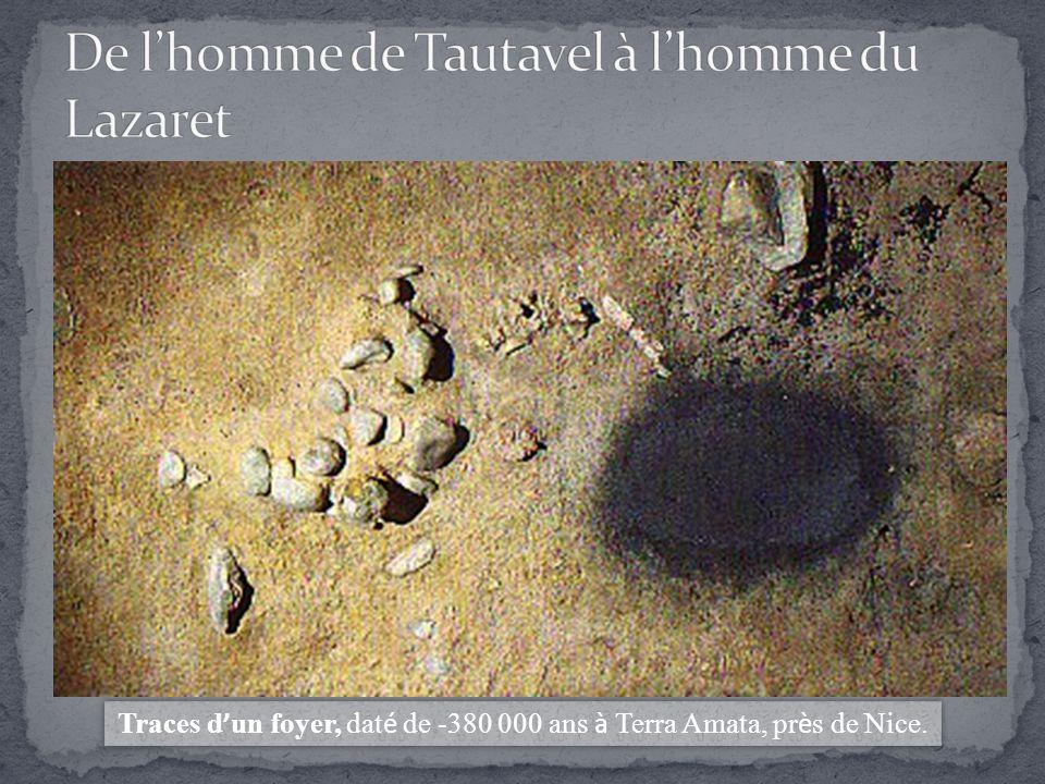 Traces d ' un foyer, dat é de -380 000 ans à Terra Amata, pr è s de Nice.