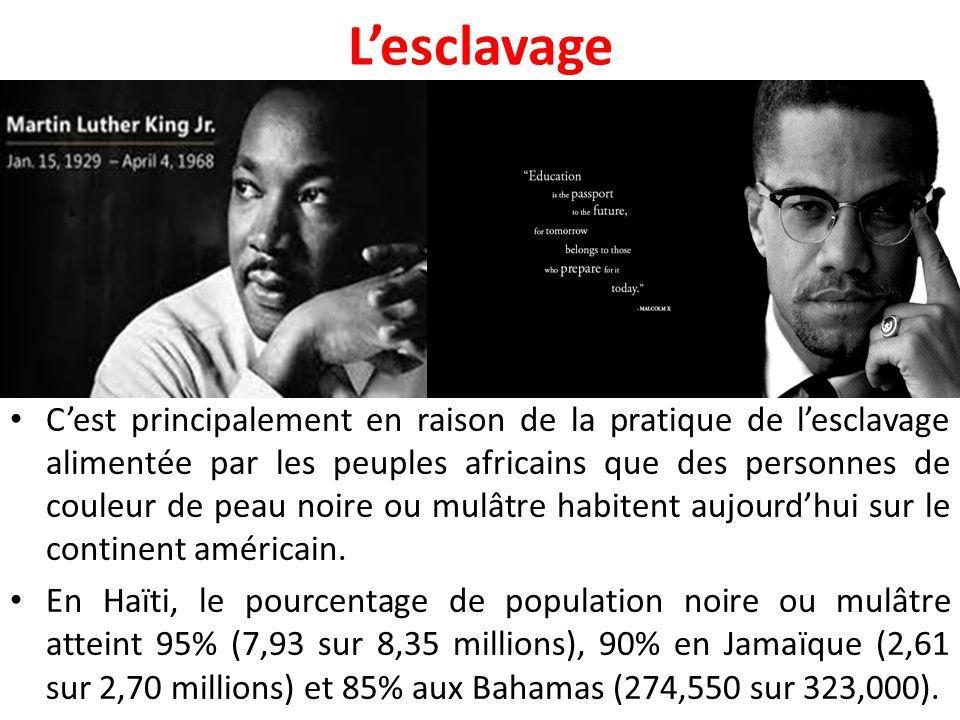 L'esclavage C'est principalement en raison de la pratique de l'esclavage alimentée par les peuples africains que des personnes de couleur de peau noire ou mulâtre habitent aujourd'hui sur le continent américain.