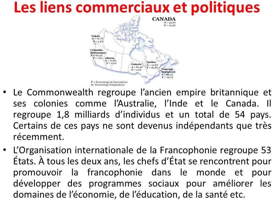 Les liens commerciaux et politiques Le Commonwealth regroupe l'ancien empire britannique et ses colonies comme l'Australie, l'Inde et le Canada.