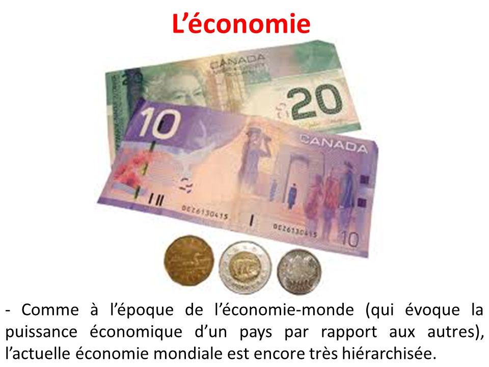 L'économie - Comme à l'époque de l'économie-monde (qui évoque la puissance économique d'un pays par rapport aux autres), l'actuelle économie mondiale