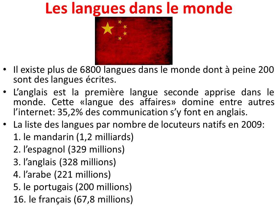 Les langues dans le monde Il existe plus de 6800 langues dans le monde dont à peine 200 sont des langues écrites. L'anglais est la première langue sec