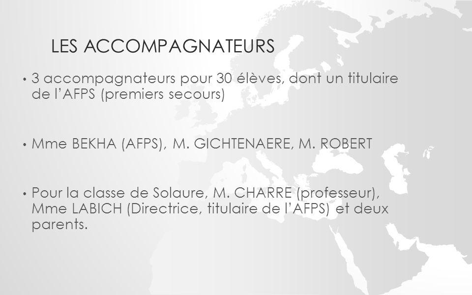 LES ACCOMPAGNATEURS 3 accompagnateurs pour 30 élèves, dont un titulaire de l'AFPS (premiers secours) Mme BEKHA (AFPS), M. GICHTENAERE, M. ROBERT Pour
