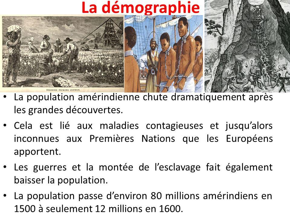 La démographie La population amérindienne chute dramatiquement après les grandes découvertes. Cela est lié aux maladies contagieuses et jusqu'alors in