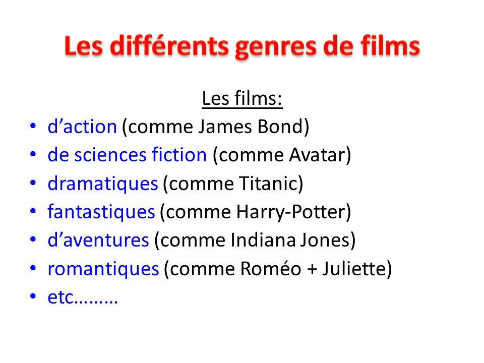 Les films: d'action (comme James Bond) de sciences fiction (comme Avatar) dramatiques (comme Titanic) fantastiques (comme Harry-Potter) d'aventures (c