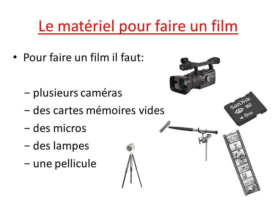 Le matériel pour faire un film Pour faire un film il faut: − plusieurs caméras − des cartes mémoires vides − des micros − des lampes − une pellicule