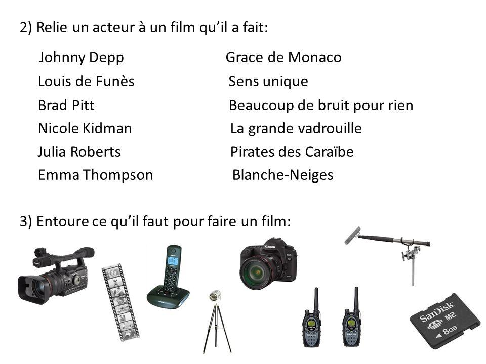 2) Relie un acteur à un film qu'il a fait: Johnny Depp Grace de Monaco Louis de Funès Sens unique Brad Pitt Beaucoup de bruit pour rien Nicole Kidman
